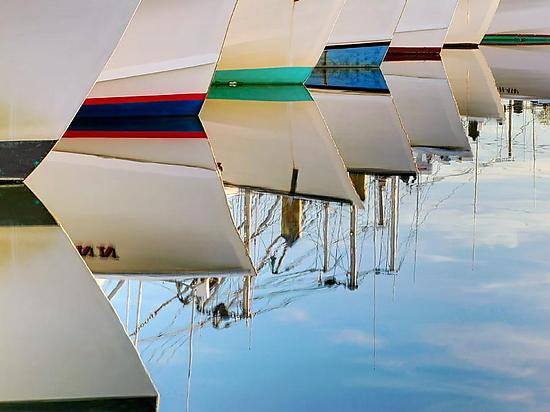 Boat Bows - Color Photograph - by Mike Cable