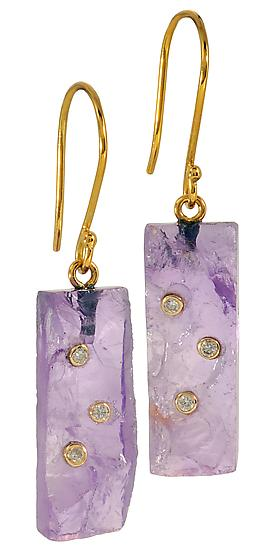 Amethyst Drop Earrings - Gold & Stone Earrings - by Diana Widman