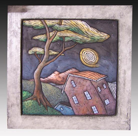 Framed Landscape Wall Tile - Ceramic Wall Art - by David Stabley