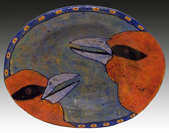 Orange Birds Platter - Ceramic Platter - by Deb Stabley