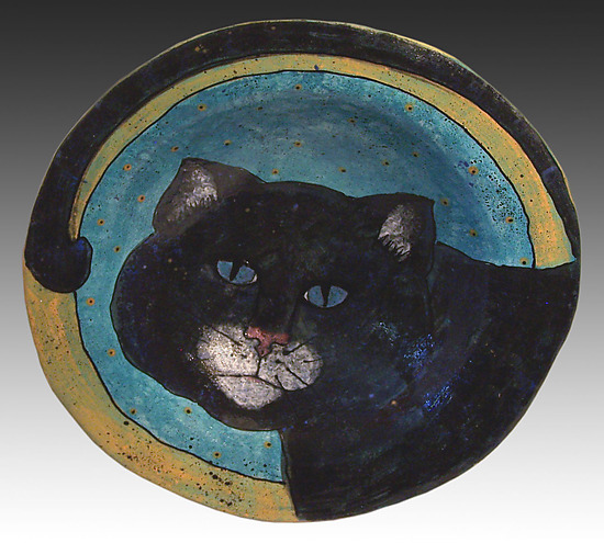 Black Cat Shallow Bowl - Ceramic Platter - by Deb Stabley