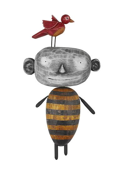 MoonBeE with Bird - Wood Wall Art - by Bruce Chapin