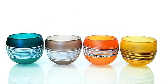 Satin Wrapped Bowls - Art Glass Bowl - by David Royce