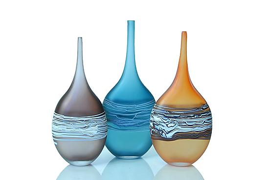 Satin Wrapped Flat Bottles - Art Glass Bottle - by David Royce