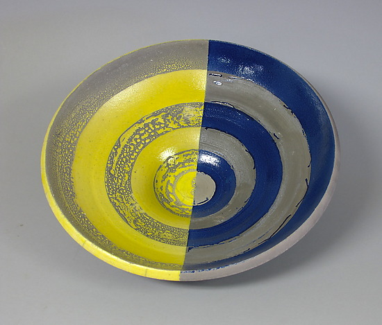 Yellow and Blue Concentric Circles Bowl - Ceramic Bowl - by Paul Schneider