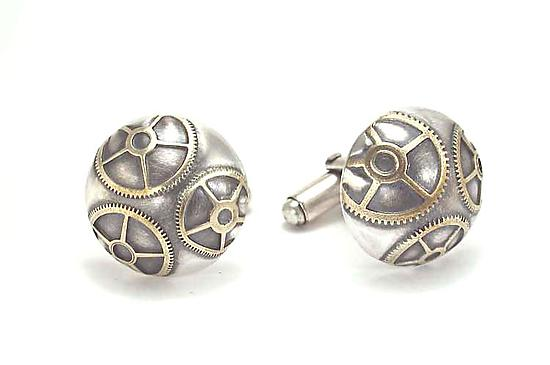 3 Gears Cufflinks - Silver & Brass Cuff Links - by Connie Verrusio