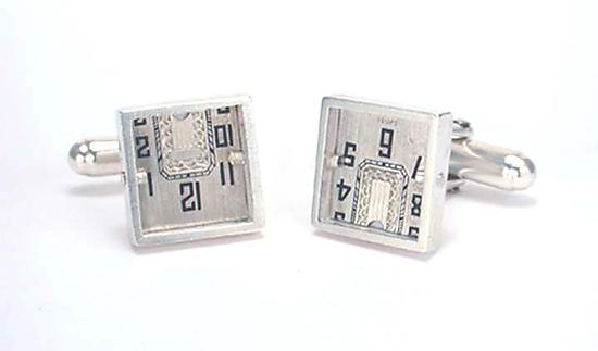 Square Antique Watch Dial Cufflinks - Silevr Cuff Links - by Connie Verrusio