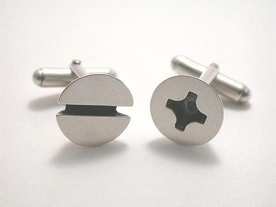 Screw Cufflinks - Silver Cuff Links - by Connie Verrusio
