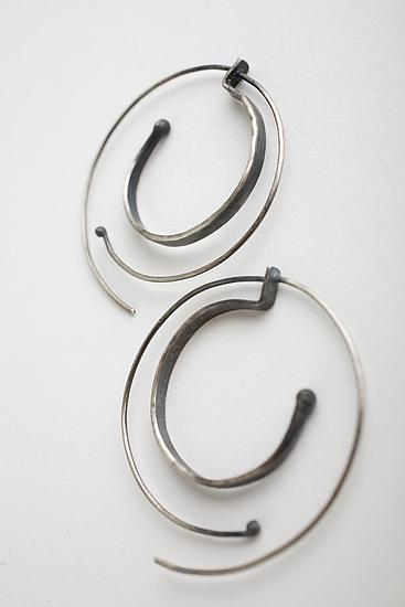 Hammered Spiral Hoops - Silver Earrings - by Monique Rancourt