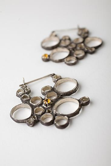 Condensation Earring with Yellow Topaz - Silver & Stone Earrings - by Monique Rancourt