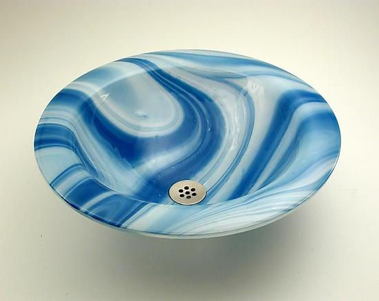Blue Swirl Basin - Art Glass Sink - by George Scott