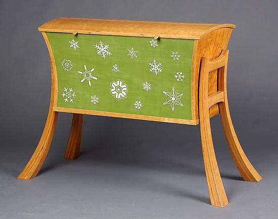 Snowflakes Blanket Chest - Wood Blanket Chest - by Andrew Pitts