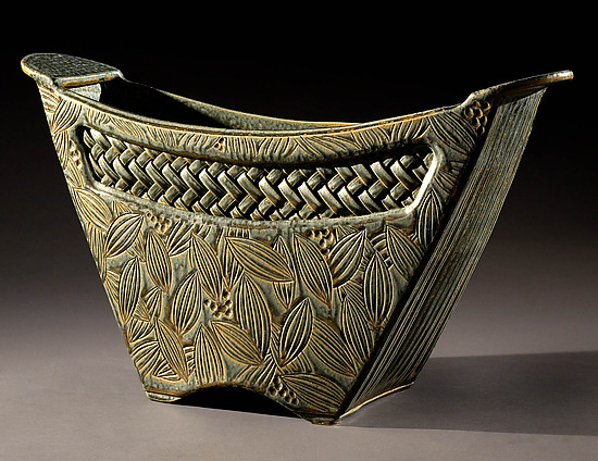 Sage Bucket Vase with Woven Inset - Ceramic Vessel - by Jim and Shirl Parmentier