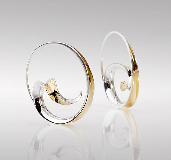 Wave Hoop Earrings - Gold & Silver Earrings - by Nancy Linkin