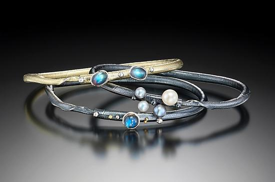 Autus Bangle Set - Gold, Silver, & Stone Bangle - by Christine MacKellar