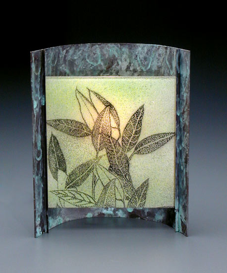 Eucalyptus - Glass & Copper Lamp - by Joan Bazaz