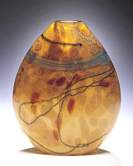 Sahara Flat Vessel - Art Glass Vessel - by Randi Solin