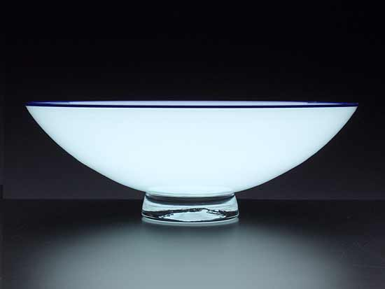 Pale Blue Bowl with Blue Lip - Art Glass Bowl - by Nicholas Kekic
