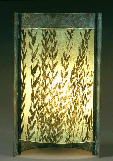 Curved Green Grasses - Glass & Copper Lamp - by Joan Bazaz