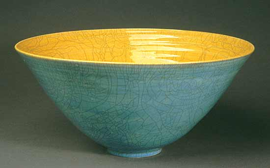 Blue Raku Bowl - Ceramic Bowl - by Amber Archer