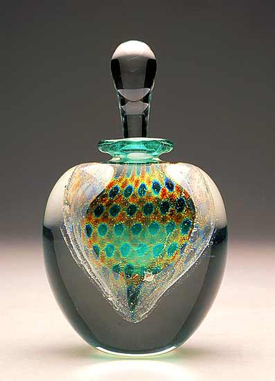 Peacock Perfume: Jade Green - Art Glass Perfume Bottle - by David New-Small