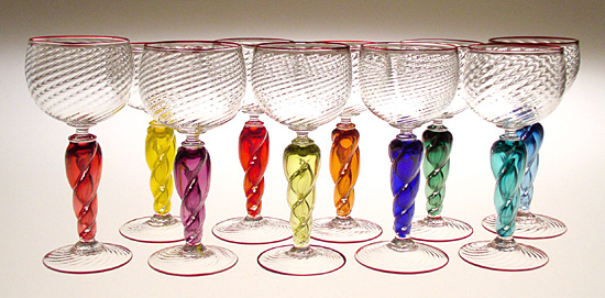 Optic Goblets - Art Glass Goblets - by Mary Mullaney and Ralph Mossman