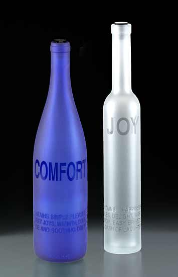 Poet's Bottles: Comfort & Joy - Art Glass Bottle - by Jeff Crandall