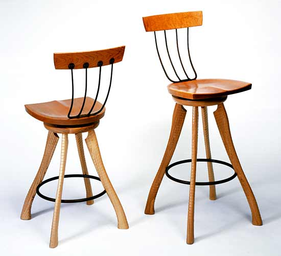 Pitchfork Swivel Chair - Wood Chair - by Brad Smith
