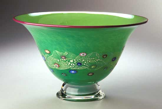 Emerald Blossom Bowl - Art Glass Bowl - by Ingrid Hanson and Ken Hanson