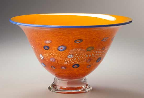Daffodil Blossom Bowl - Art Glass Bowl - by Ingrid Hanson and Ken Hanson