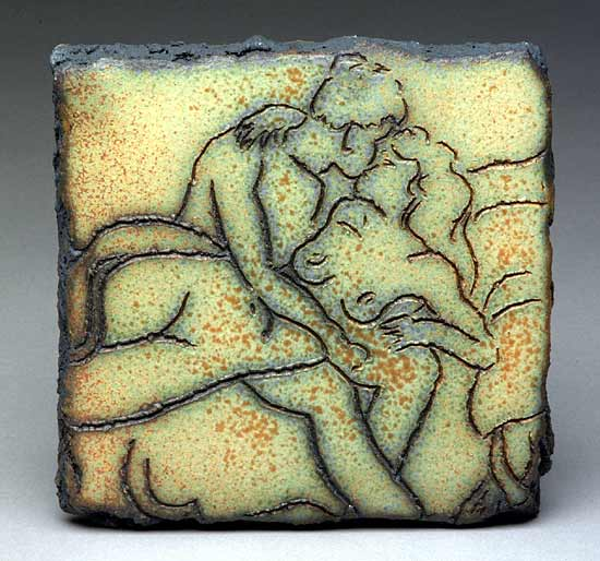 Lovers - Ceramic Wall Art - by W. Mitch Yung