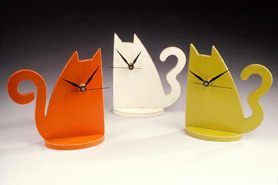 Cat Clock - Wooden Clock - by Emi Ozawa