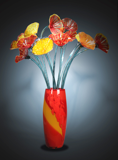 Tall Flower Vase - Art Glass Sculpture - by Suzanne Guttman