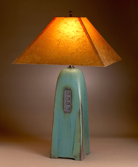 Viridian Lamp with Coffee Lokta Shade - Ceramic Lamp - by Jim Webb