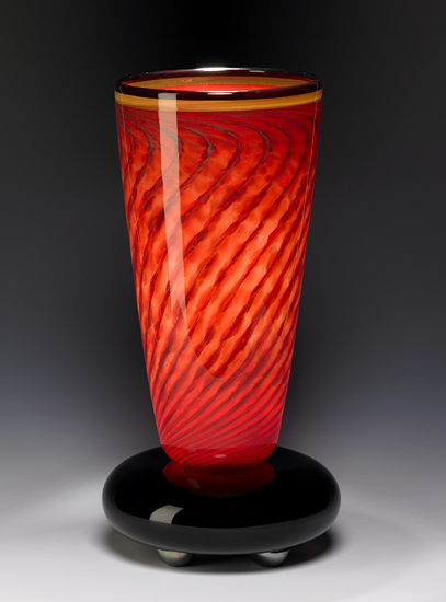 Venetian Red Lamp - Art Glass Table Lamp - by Eric Bladholm