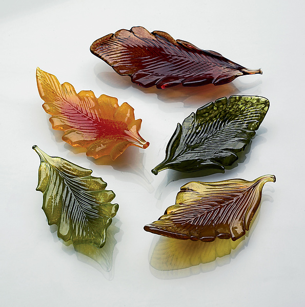 Mini Leaves - Art Glass Sculptures - by Michael Cohn and Molly Stone