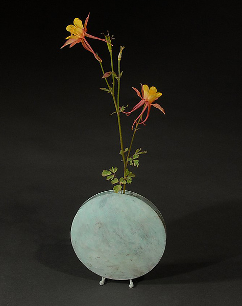 White Blue-Green Moon Vase - Brass Vessel - by David M Bowman and Reed C Bowman