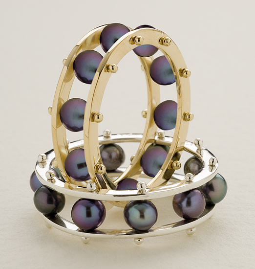 Black Pearl Tambourine Ring - Gold or Silver & Pearl Ring - by Patricia Madeja