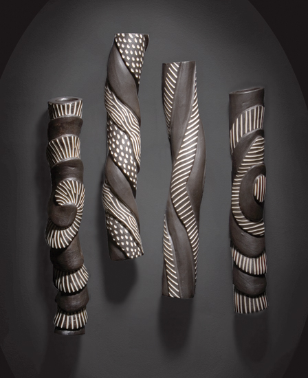 Sculptural Wall Tube Set - Ceramic Wall Art - by Larry Halvorsen