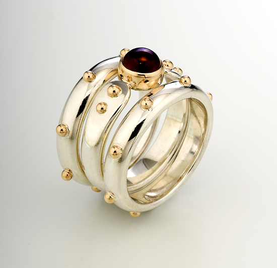 Forged End Ring Set - Silver, Gold & Stone Rings - by Linda Smith