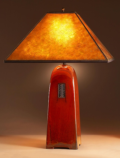 Russet Lamp with Mica Shade - Ceramic Lamp - by Jim Webb