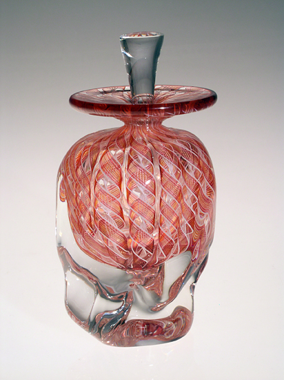 Peach Zanfirico - Art Glass Perfume Bottle - by Mary Mullaney and Ralph Mossman