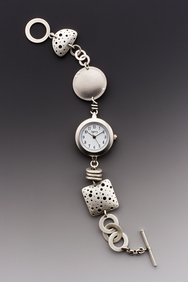 Hollowforms Watch - Silver & Titanium Watch - by Maja