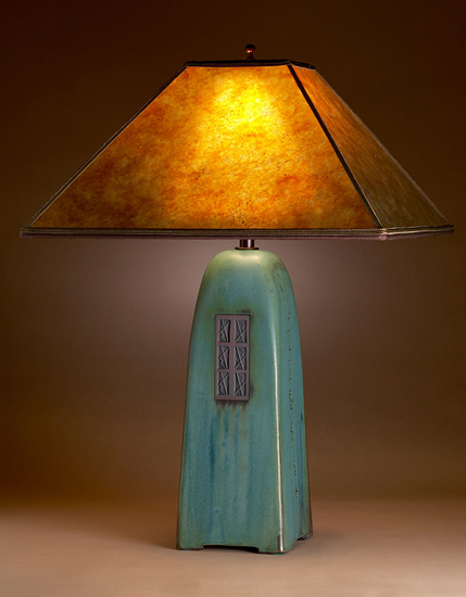 Viridian Lamp with Amber Mica Shade - Ceramic Lamp - by Jim Webb