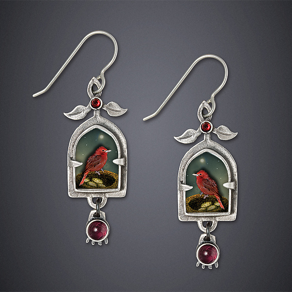 Tanager and Pomegranate Earrings - Silver Earrings - by Dawn Estrin