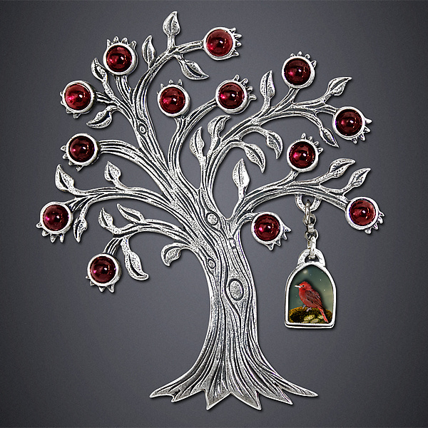 Tanager and Pomegranate Brooch - Silver Brooch - by Dawn Estrin