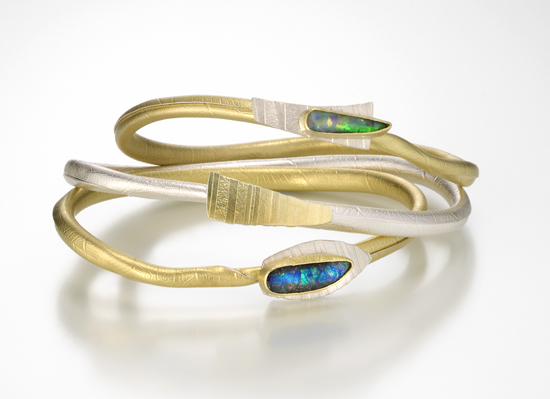 Opal Twig Bangle - Bimetal & Stone Bangle - by Christine MacKellar