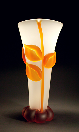 Crystal Amber Vase - Art Glass Vase - by Tommie Rush