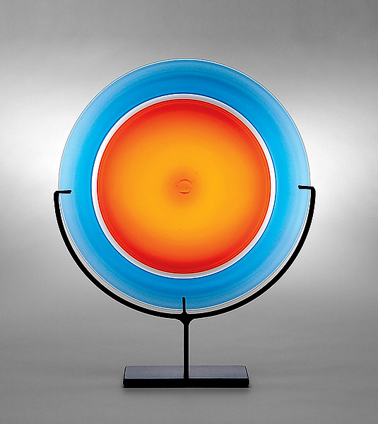 Rondel: Orange - Art Glass Sculpture - by Casey Hyland