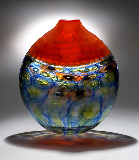 Orange Battuto Murrini Vase - Art Glass Vase - by Chris McCarthy